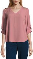 CALVIN KLEIN-ETERNITY AQUA FOR WOMENS Lily White Long Sleeve V Neck T-Shirt-Womens Juniors