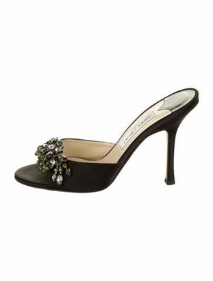 Jimmy Choo Jewel-Embellished Slide Sandals Black
