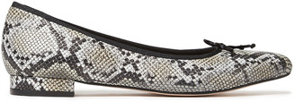 French Sole Penelope Bow-embellished Snake-effect Leather Point-toe Flats