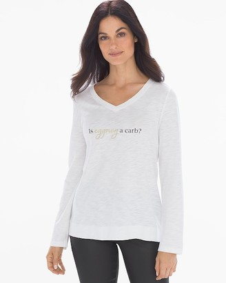Soma Intimates Cotton Slub Long Sleeve Graphic Tee Eggnog Optic White