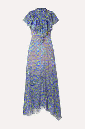 Preen by Thornton Bregazzi Lyla Ruffled Printed Devore-chiffon Maxi Dress - Blue