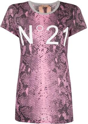 No.21 logo detail snakeskin T-shirt