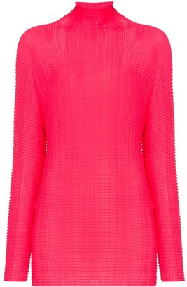 Issey Miyake High-Neck Crinkled Top