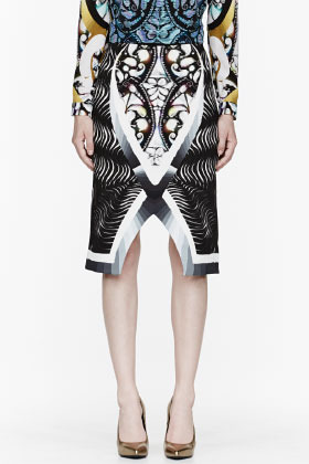 Peter Pilotto Black and purple patterned Spiral Skirt
