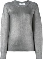 MSGM metallic (Grey) ribbed pullover