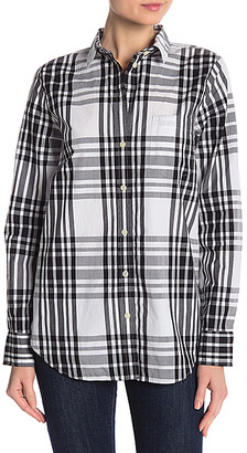 J.Crew Women's Button Down Shirts BLACK - Black & Ivory Plaid Poplin Button-Up - Women