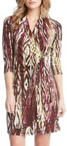 Karen Kane Women's Print Jersey Cascade Faux Wrap Dress