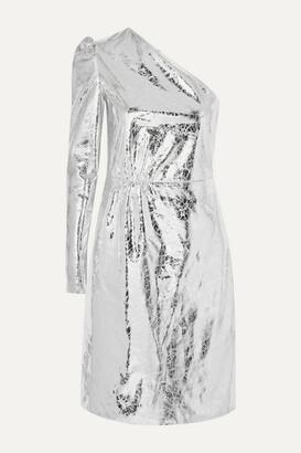 Stand Studio - + Pernille Teisbaek Kayla One-sleeve Crinkled Metallic Faux Leather Mini Dress - Silver