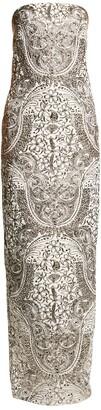 Monique Lhuillier Metallic Strapless Column Gown
