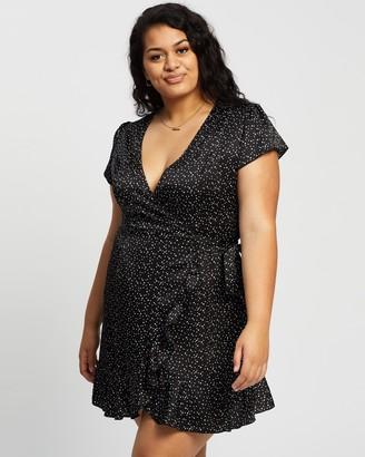 Atmos & Here Atmos&Here Curvy - Women's Black Mini Dresses - Elijah Polka Dot Wrap Dress - Size 18 at The Iconic