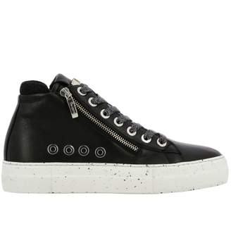 Paciotti 4Us Ramones Sneakers In Leather With Macro Zip And Logo
