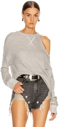 R 13 Distorted Sweatshirt in Heather Grey | FWRD