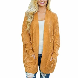 Rikay Women Sweater New Womens Ladies Long Sleeve Cardigan Top Chunky Cable Knitted Sweater Boyfriend Pullover Jumpers 4 Colors S-3XL Rikay Yellow