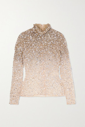 Valentino Embellished Tulle Turtleneck Top - Silver