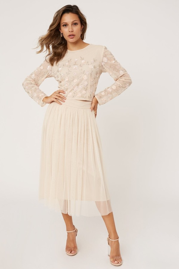 Thumbnail for your product : Little Mistress Emma Nude Floral Embellished Sequin Top Co-ord