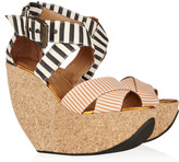 Minimarket Wati striped canvas and cork wedge sandals