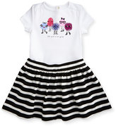 Kate Spade Monster Playsuit W/ Striped Ponte Skirt, Black/White, Size 12-24 Months