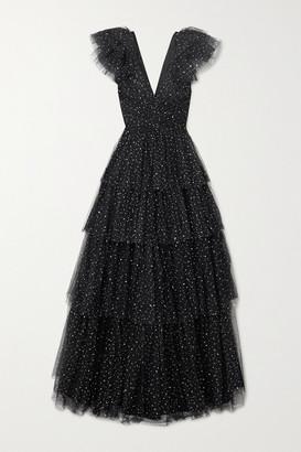 Jenny Packham Glinda Tiered Glittered Tulle Gown - Black