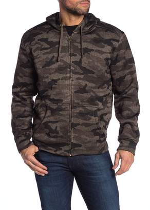 Weatherproof Vintage Camouflage Faux Shearling Lined Zip-Up Hoodie