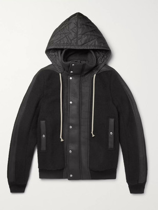 Rick Owens Shell And Leather-Panelled Wool-Fleece Hooded Jacket