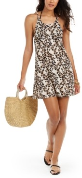 Miken Juniors' Leopard-Print Cover-Up Dress, Created for Macy's Women's Swimsuit