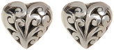 Lois Hill Sterling Silver Hand Crafted Scroll Heart Stud Earrings