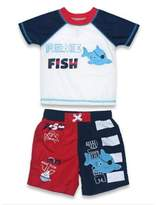 "sol swim® 2-Piece ""Pirate Fish"" Rashguard Set in Red/Navy"