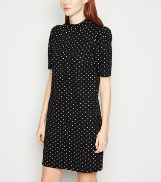 New Look Spot Puff Sleeve Tunic Dress