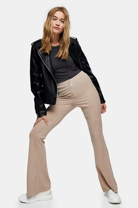Topshop Womens Stone Corduroy Ribbed Flare Trousers - Stone