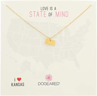 """Dogeared State of Mind"""" Kansas Gold-Plated Sterling Silver Chain Necklace"""
