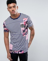 Hype T-Shirt In Navy Stripe With Floral Patches
