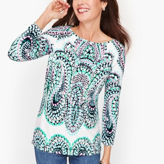Talbots Cotton Bateau Neck Tee - Dotted Paisley