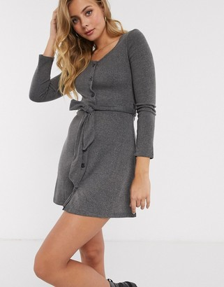 Brave Soul rony button through skater dress with self belt