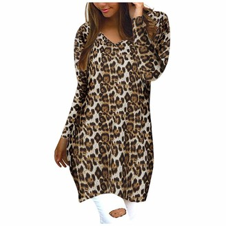 TOPKEAL Women Ladies Girl Long Sleeve Tops Sweatshirt Bluses Oversized Leopard Round Neck Long Elegant Baggy Casual T-Shirts Tunic Jumper Pullover Tee (Khaki XXL)