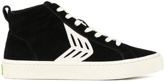 Cariuma CATIBA High Black Suede Ivory Logo Sneaker
