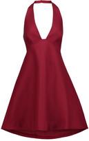 Halston Open-back stretch-cotton halterneck mini dress