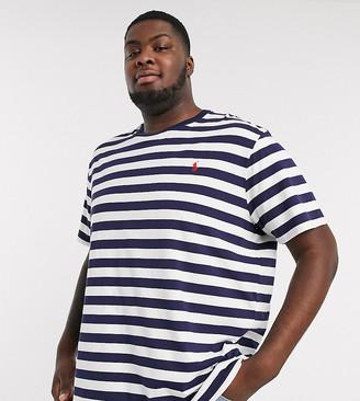 Polo Ralph Lauren Big & Tall stripe player logo t-shirt in navy/white