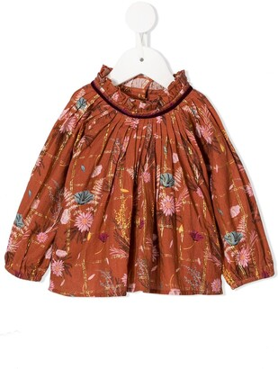 Velveteen Sage ruffle trim blouse
