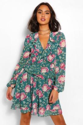 boohoo Floral Chiffon Ruffle Detail Skater Dress