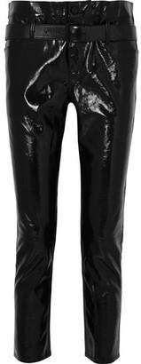 RtA Alastair Belted Patent-leather Slim-leg Pants - Black