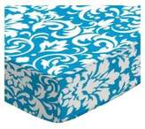 SheetWorld Fitted Pack N Play (Graco Square Playard) Sheet - Turquoise Damask - Made In USA - 36 inches x 36 inches ( 91.4 cm x 91.4 cm)