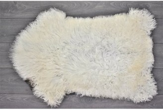 "Hause Animal Print Handmade 2'2"" x 3'4"" Sheepskin White Indoor / Outdoor Area Rug Millwood Pines"