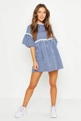 boohoo Petite Gingham Print Smock Dress