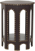 The Well Appointed House Moroccan Arch Side Table in Charcoal Grey with Iron Nail Heads