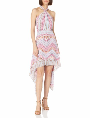BCBGMAXAZRIA Azria Women's Danela Printed Crossover Hi Low Hem Dress