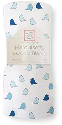 Swaddle Designs Marquisette Swaddling Blanket, Premium Cotton Muslin, Jewel Tone Little Chickies, True Blue