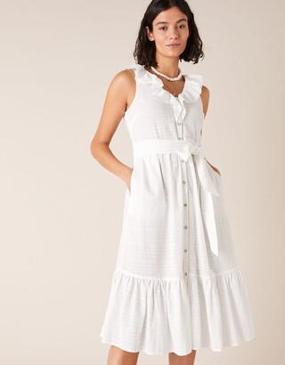 Monsoon Ruffle Neck Dress in Organic Cotton White
