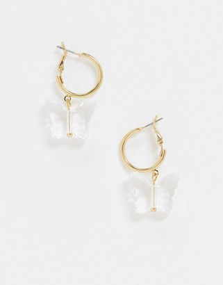 ASOS DESIGN hoop earrings with plastic butterfly charm in gold tone