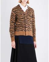 Toga Ladies Beige Tiger Avant garde Tiger-Embroidered Wool-Blend Cardigan