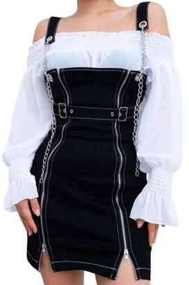 Vepodrau Women Overall Dress Zip Up Denim Bodycon Dresses with Chain Black M
